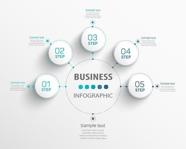 Zakelijke infographics nummer opties sjabloon met stappen