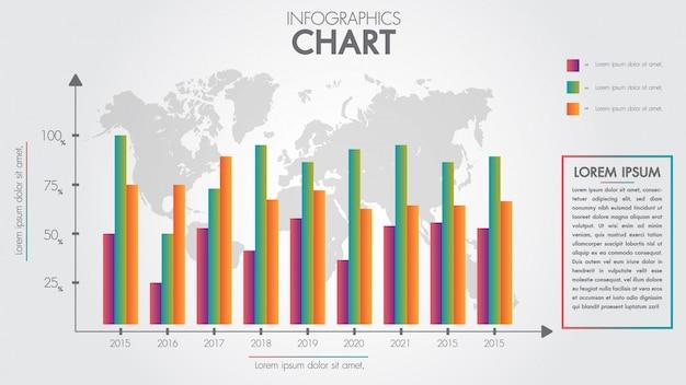 Zakelijke infographics ontwerp pijl grafiek en wereldwijd voor presentatie. sjabloon voor groei diagram