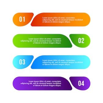 Zakelijke infographics ontwerp vector kan worden gebruikt voor de indeling van de werkstroom, diagram, jaarverslag, webdesign. bedrijfsconcept met 4 opties, stappen of processen.