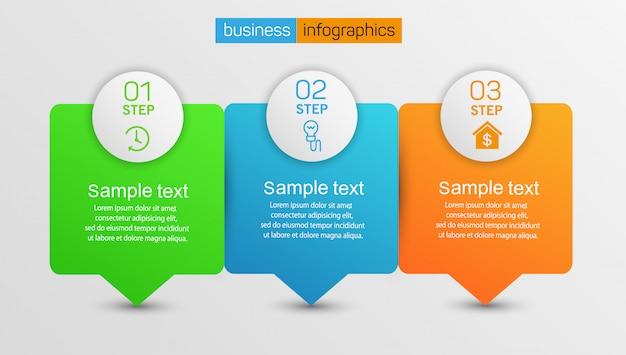 Zakelijke infographics ontwerpconcept met 3 stappen of opties