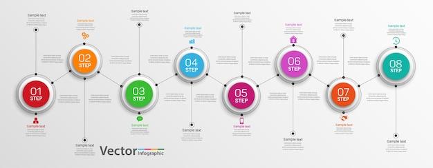 Zakelijke infographics ontwerpconcept met 8 stappen of opties