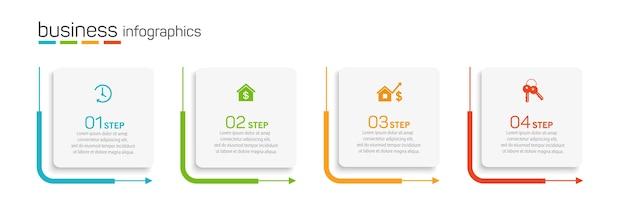 Zakelijke infographics ontwerpsjabloon met 4 opties