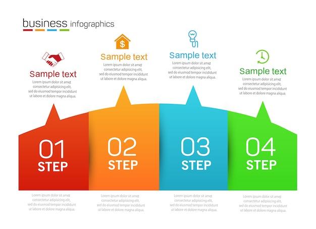 Zakelijke infographics ontwerpsjabloon met 4 stappen