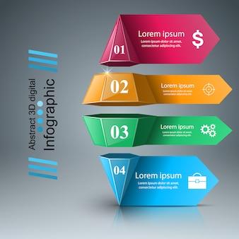 Zakelijke infographics origami stijl illustratie