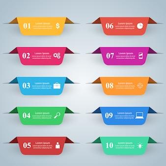 Zakelijke infographics origami stijl vectorillustratie
