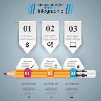 Zakelijke infographics. potloodpictogram.