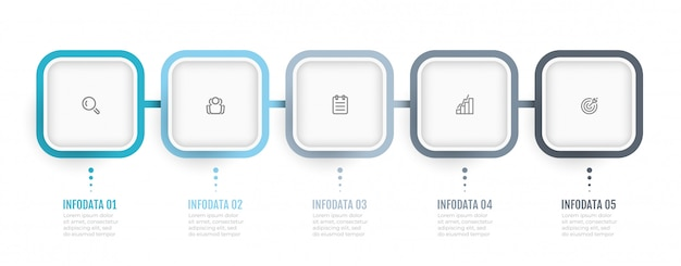 Zakelijke infographics. processchema. timeline met 5 opties of stappen. kan gebruikt worden voor jaarverslag, infokaart, webdesign.
