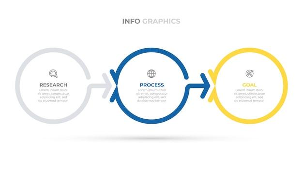 Zakelijke infographics-sjabloon creatief ontwerpelementen met cirkel en pijl vectorillustratie