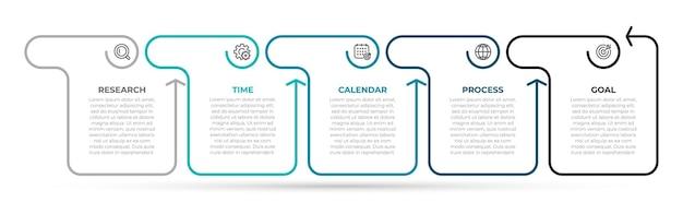 Zakelijke infographics-sjabloon dun lijnontwerp met pijlen en 5 opties of stappen