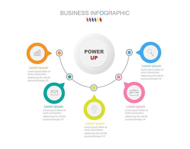 Zakelijke infographics sjabloon het concept 5 volledige kleuroptie.