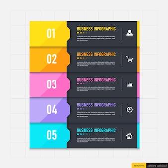 Zakelijke infographics sjabloon met 5 stappen