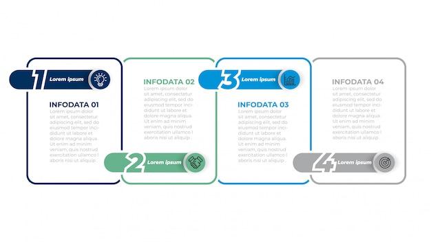 Zakelijke infographics sjabloon met marketing pictogrammen. werkstroomdiagram met stappen, opties.