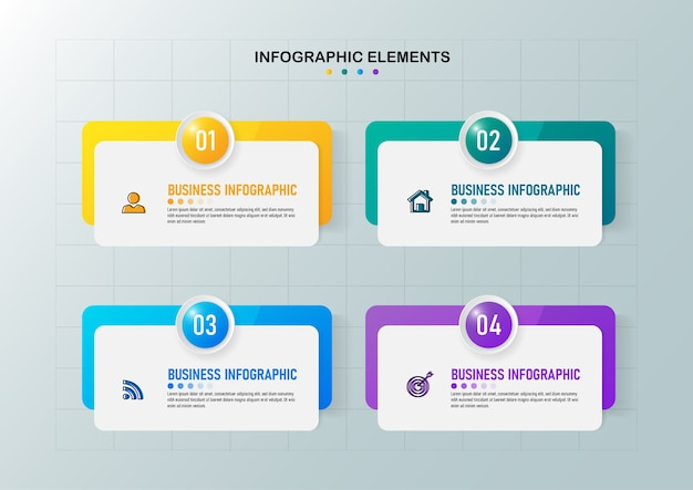 Zakelijke infographics-sjabloon met vier stappen