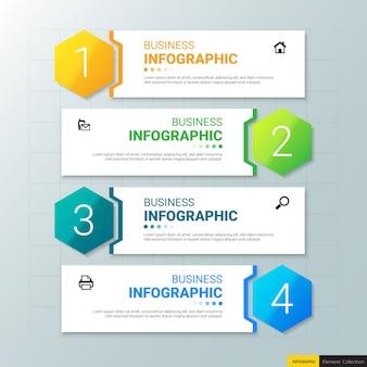 Zakelijke infographics sjabloon met vier stappen