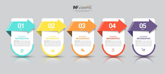 Zakelijke infographics sjabloon met vijf stappen