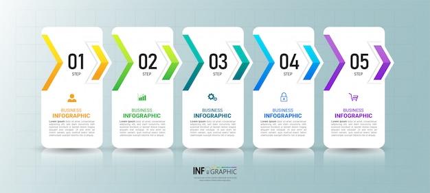 Zakelijke infographics sjabloon met vijf stappen.