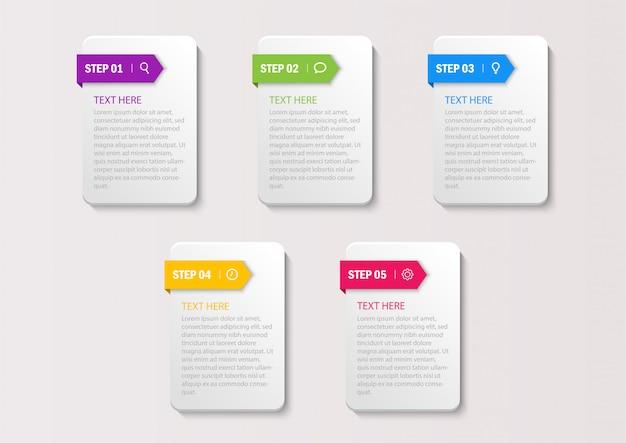 Zakelijke infographics sjabloon. nummers 5 stappen geïsoleerd