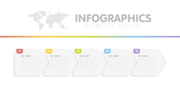 Zakelijke infographics sjabloon. tijdlijn met 5 pijlstappen, vijf nummeropties. vector