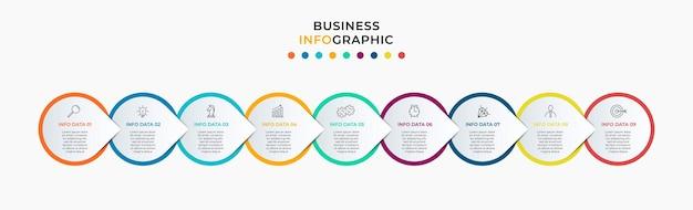 Zakelijke infographics-sjabloon tijdlijn met 9-stappenopties en marketingpictogrammen
