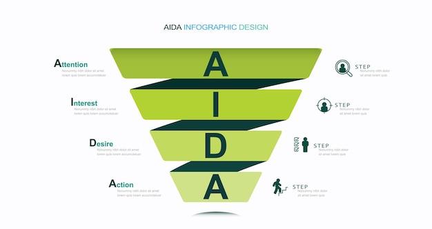 Zakelijke infographics stadia van een sales funnel