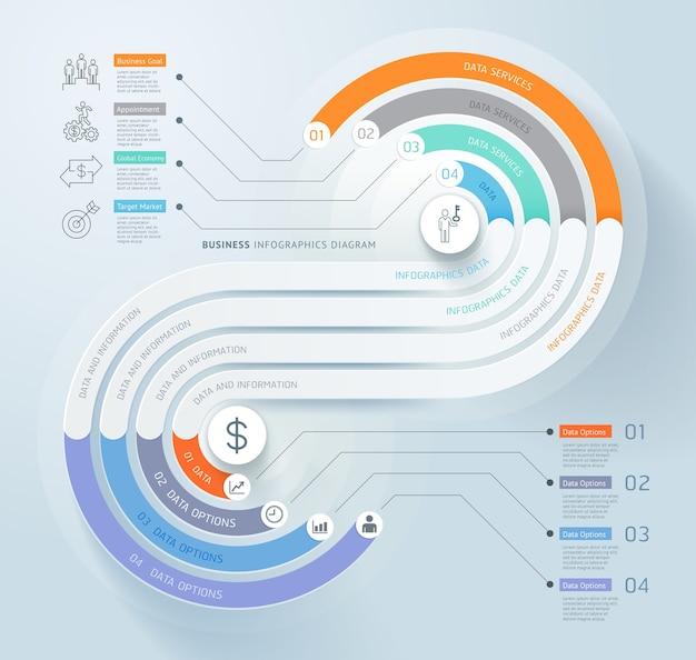 Zakelijke infographics tijdlijn sjabloon achtergrond