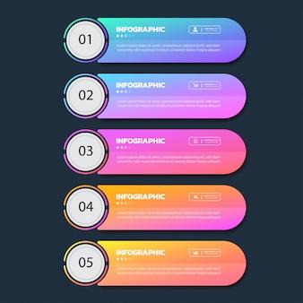Zakelijke infographics vijf stappen sjabloon.