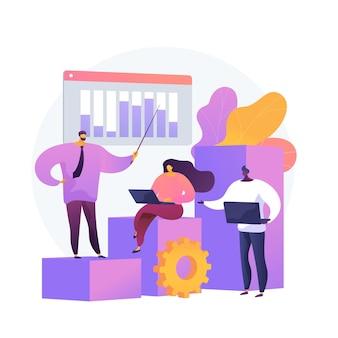 Zakelijke innovatie presentatie. analyserapport, statistiekengrafiek, vorkstroom. analisten en teamleider stripfiguren staan op groeiende grafiek.