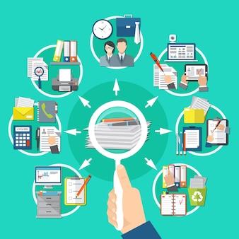 Zakelijke items ronde compositie met zoeken naar informatie op documenten en papieren