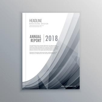 Zakelijke jaarverslag brochure ontwerp sjabloon met grijze golf