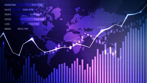 Zakelijke kaars stick grafiek grafiek big data analyse visualisatie data info grafisch bullish punt