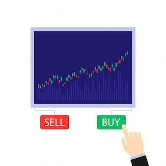 Zakelijke kandelaargrafiek met koop- en verkoopknoppen. beurs en handelsuitwisseling vectorconcept. illustratie van zakelijke handelaar, financiële beurs.