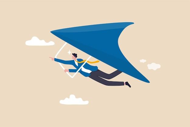 Zakelijke kans of streven naar succes in werk en carrière, leiderschap om het doelconcept te bereiken, ambitieuze zakenman die met zweefvliegtuig hoog vliegt om nieuwe zakelijke kansen te zoeken.