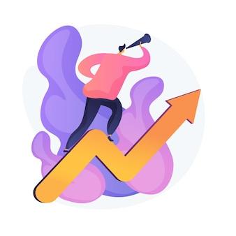 Zakelijke kansen, kansen. professionele ambities, ontwikkelingsplannen voor bedrijven, zoeken naar innovatie. visionaire ondernemer die anticipeert op nieuwe trends. vector geïsoleerde concept metafoor illustratie
