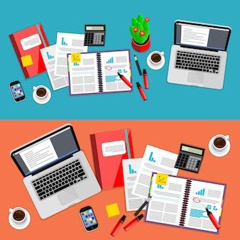Zakelijke kantoor werkruimte set
