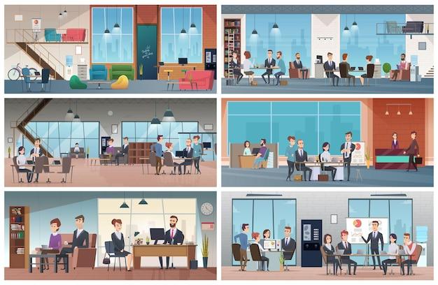 Zakelijke kantoren. professionele zakelijke interieurs werken open ruimte managers praten vergadering wandelen vector achtergrond. kantoor professioneel interieur, manager op de werkplek illustratie