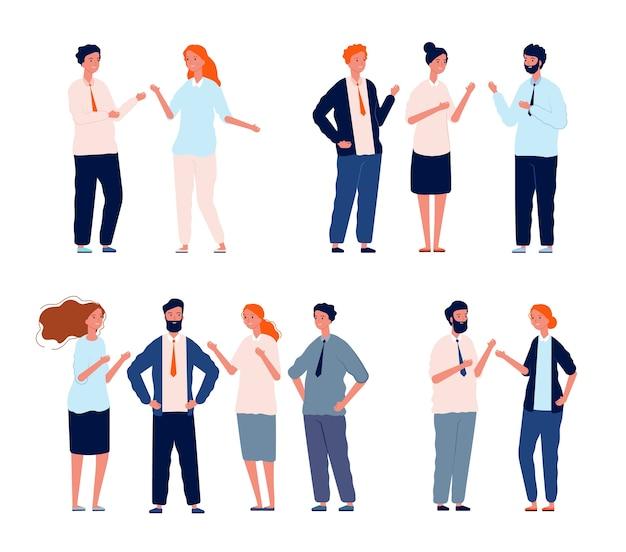 Zakelijke karakters praten. mensen groepen gesprek mensen dialoog set. gesprek praten sociaal, spreken en communicatie dialoog illustratie