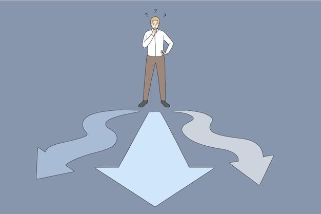 Zakelijke keuze en kansen concept. jonge zakenmanarbeider die zich op kruispunten met manieren aan verschillende kanten bevindt die twijfel voelt gefrustreerd welke manier om vectorillustratie te kiezen