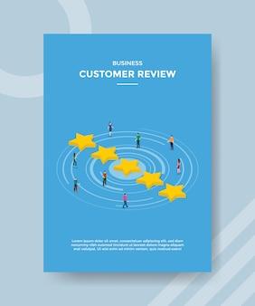 Zakelijke klant review mensen staan rond de ster