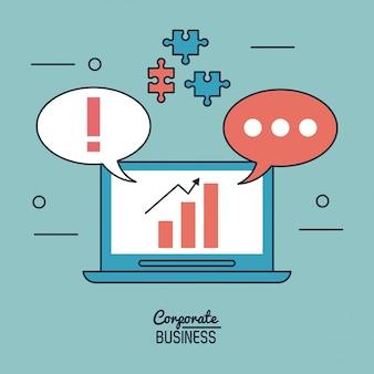 Zakelijke klanten met laptop en dialoog bubbels en puzzel