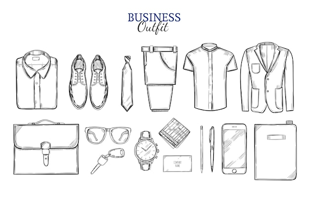 Zakelijke kleding schets set
