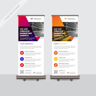 Zakelijke kleurrijke oprolbare of staande banner sjabloonontwerp