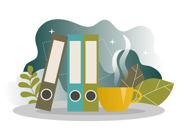 Zakelijke koffiepauze bestemmingspagina. lunchtijd banner met platte websitesjabloon. gemakkelijk bewerken en aanpassen. vector illustratie. tijdbeheerconcept.
