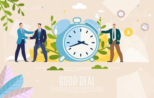 Zakelijke leiders goede deal platte vector webbanner