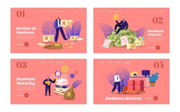 Zakelijke levenscyclus bestemmingspagina sjabloon set. zakenmankarakter behaalt succes door opstartprojectlancering, ontwikkeling, crisisoverwonnen, hard werken of rijkdom. cartoon mensen vectorillustratie