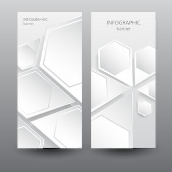 Zakelijke lichte verticale banners met zeshoekige abstracte webelementen