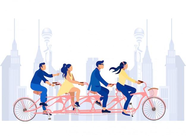 Zakelijke mannen en vrouwen op tandem fiets op straat