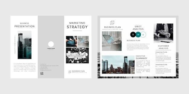 Zakelijke marketing 3-voudige brochure bewerkbare sjabloon