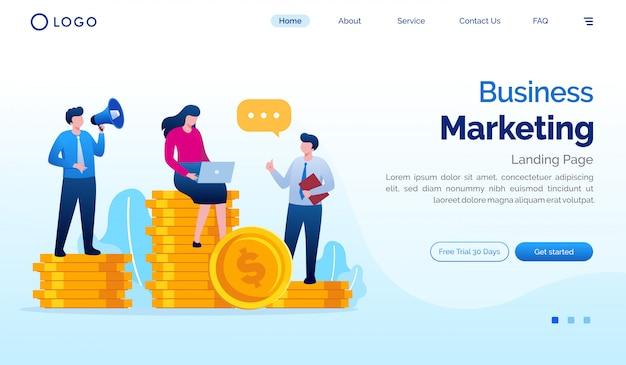 Zakelijke marketing bestemmingspagina website illustratie