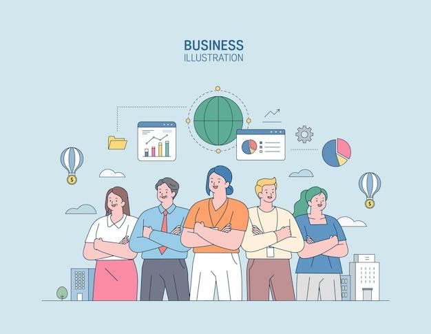 Zakelijke marketing illustratie mannen en vrouwen die zich bezighouden met zaken