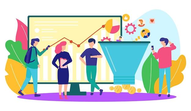 Zakelijke marketing in internet vector illustratie mensen karakter staan in de buurt van online webservice in...